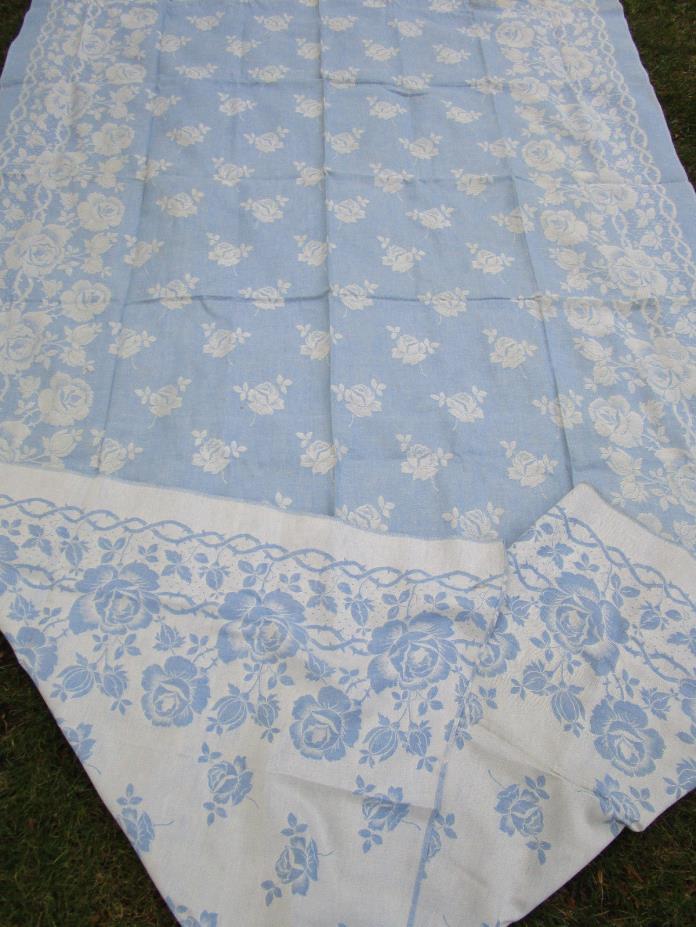 Vtg Large Blue Linen Damask Tablecloth 60x80 CABBAGE ROSES