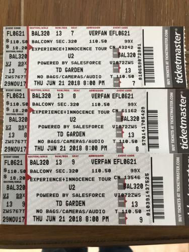 3-U2 Concert Tickets TD Garden Boston Bal 320 Row 13