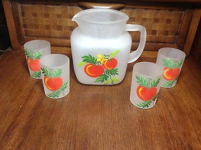 Frosted Federal glass drink set gay fad style vintage retro fruit