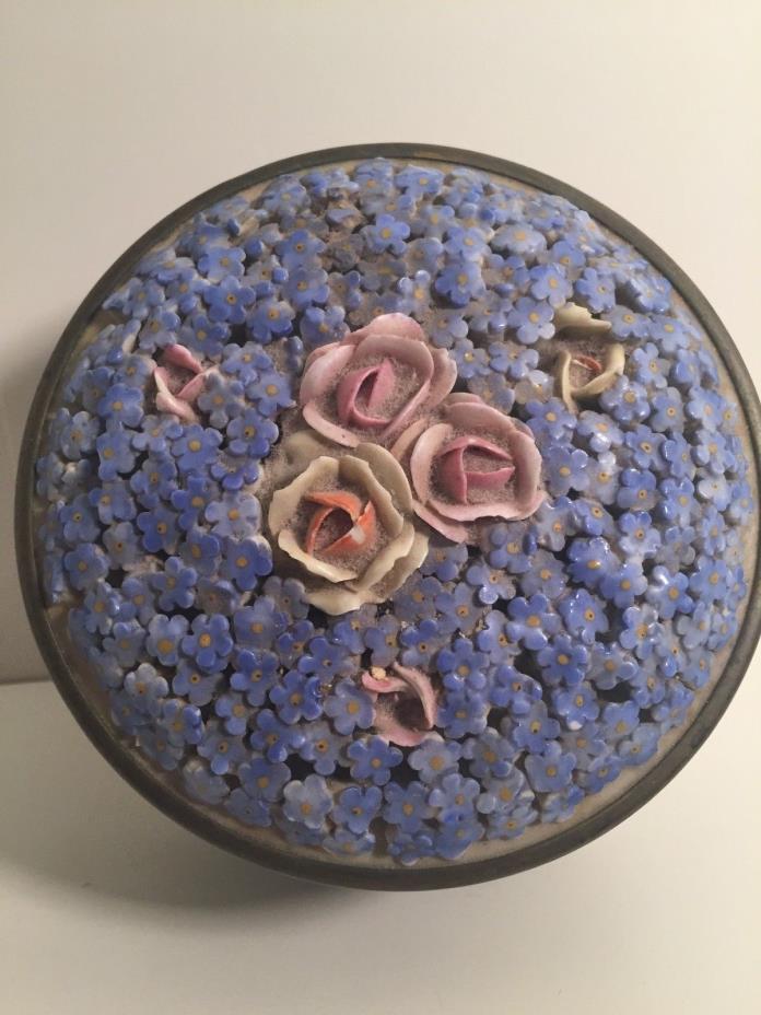 Vintage Elfinware Dresser Box Porcelain lid Roses Forget Me Nots Germany German