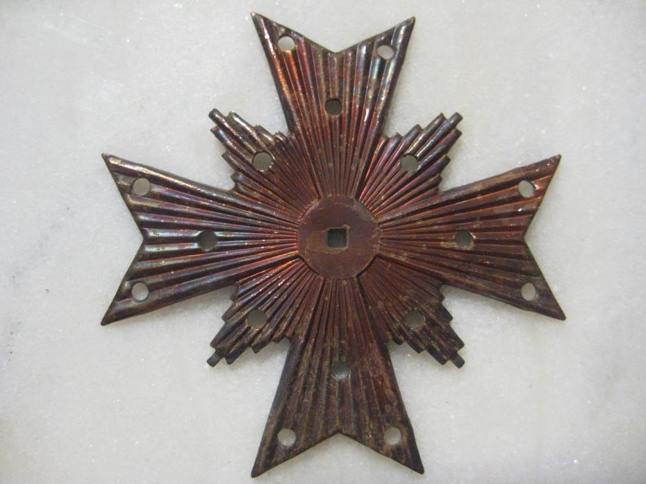 Vintage Maltese Cross; Copper Plated Distressed Stamped Steel Jewelry Finding