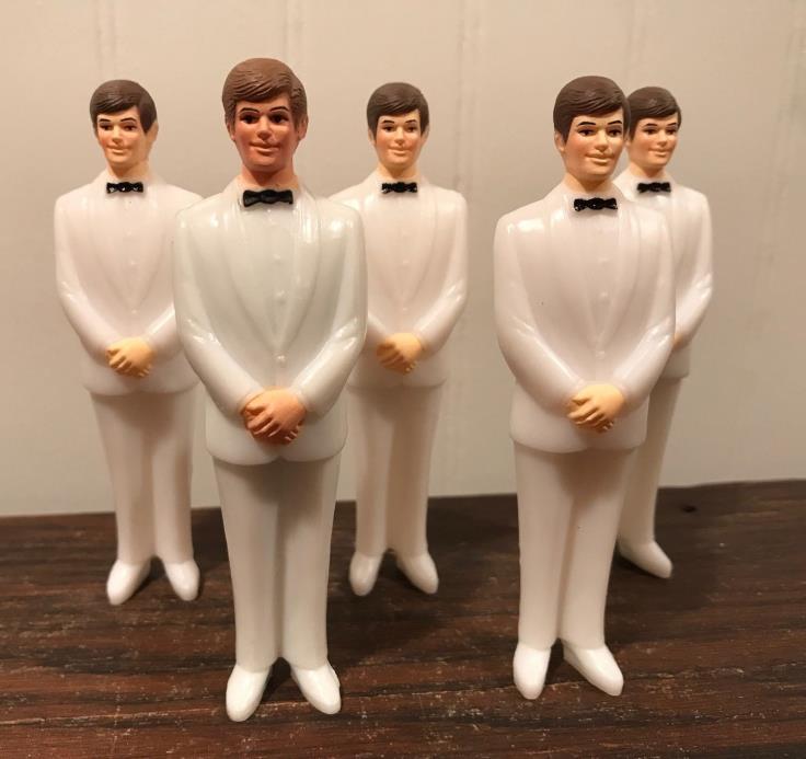 5 Vintage Wedding Groomsmen Groom White Tux Cake Topper Decorations Lot# 43