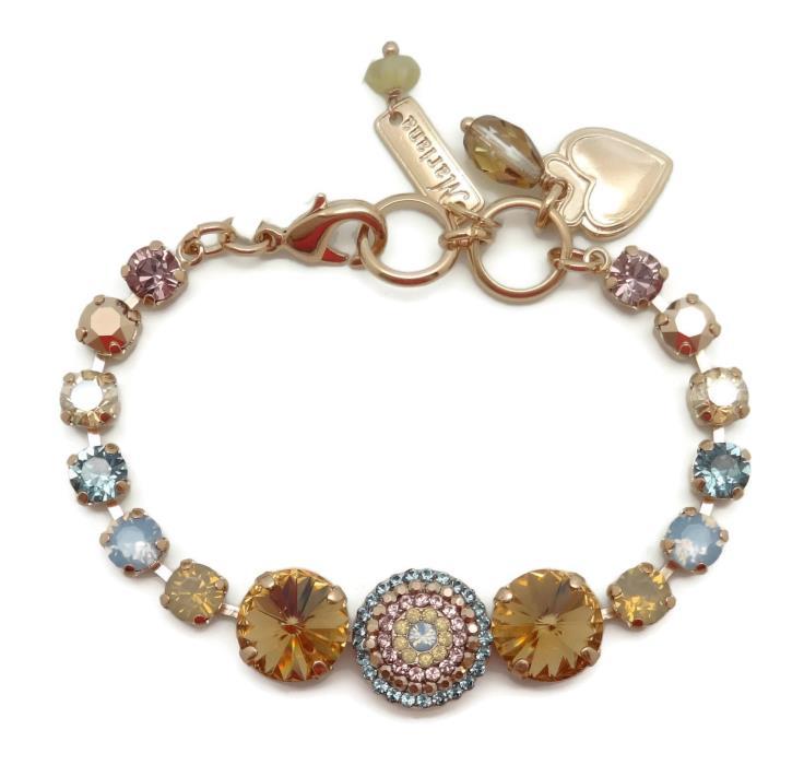 MARIANA Rose Gold Swarovski Crystal Bracelet Brown Rivoli Mix 1092 Rhapsode