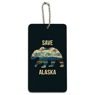 Save Alaska with Bear Mountains Water Wood Luggage Card Suitcase Carry-On ID Tag