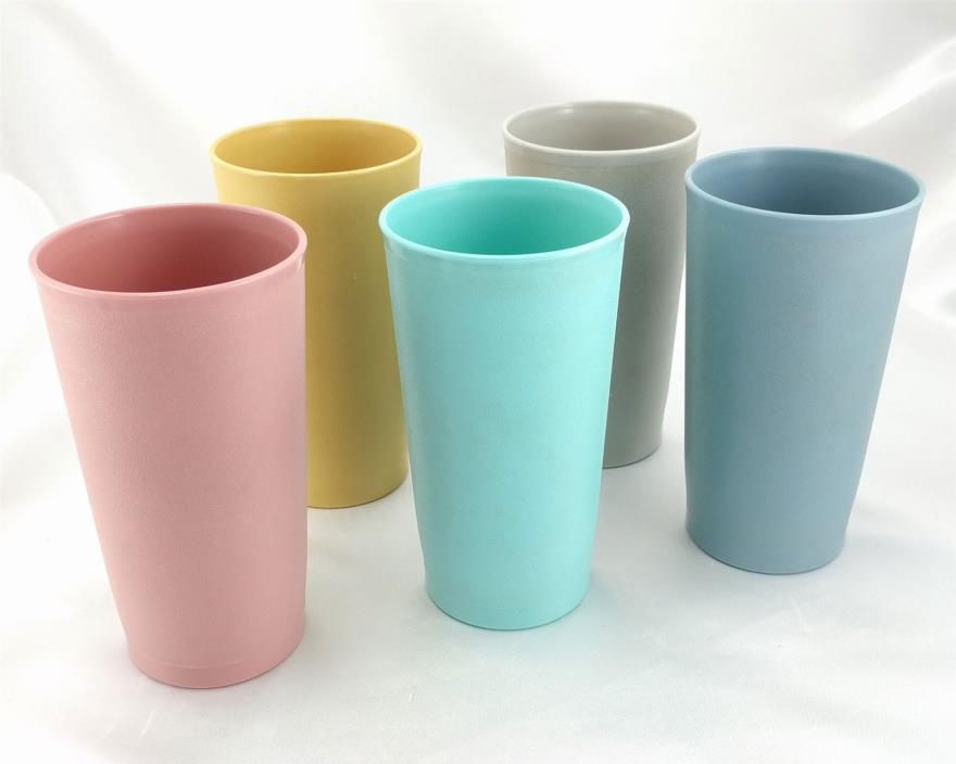 Tupperware 873 Tumblers Vintage 12oz Aqua Rose Blue Gray Tan USA Made ~ Set of 5