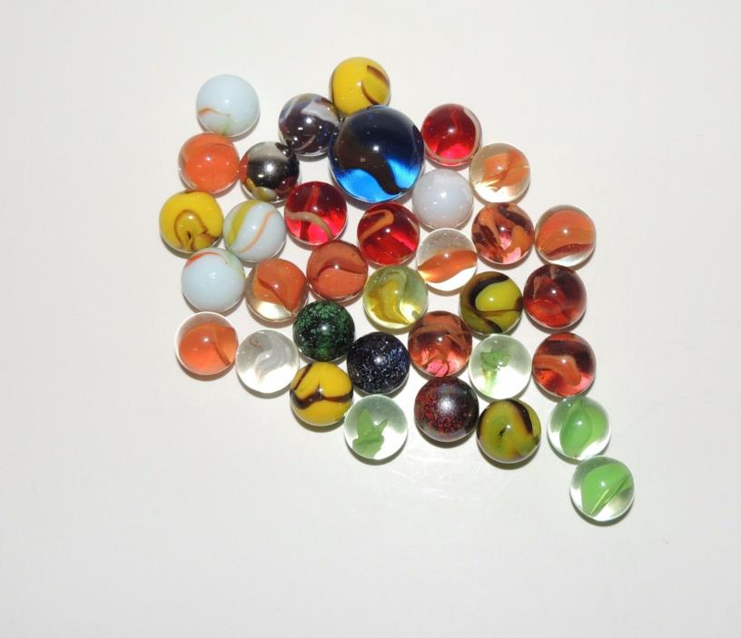 Glass Marbles -  Lot of 35 - Assorted Colors and Excellent Condition