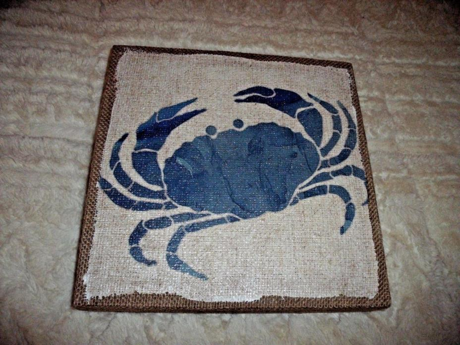 NEW Coastal BURLAP BLUE CRAB WALL SIGN  Wood Box Style NAUTICAL Beach Decor