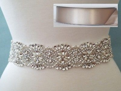 18 INCH LONG Crystal Pearl Wedding Dress Sash Belt = TAUPE RIBBON