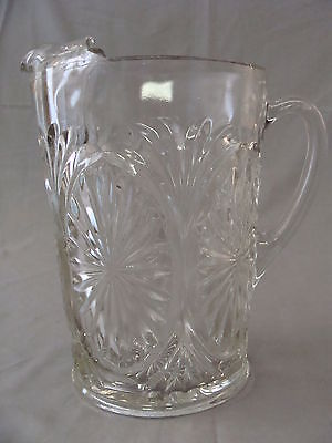 Vintage Heavy Clear Cut Glass Pitcher With Ice Spout