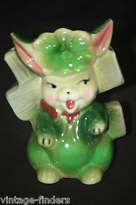 Vintage Whimsical Devilish Green Easter Bunny Rabbit Planter Garden Decor MCM