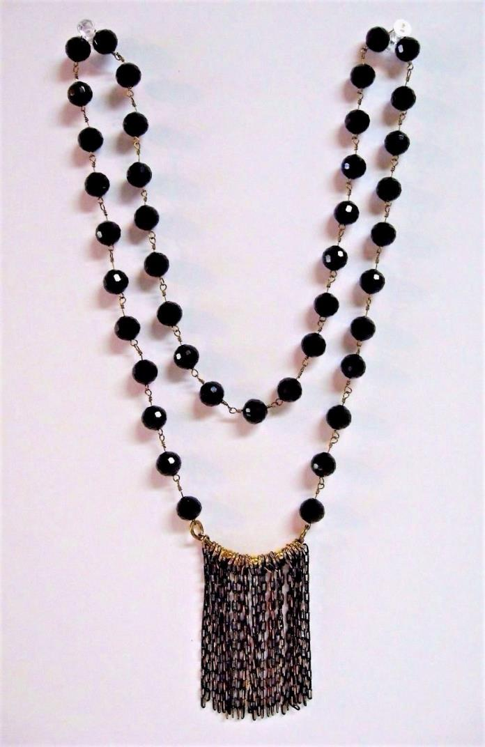 Handcrafted Artisan Necklace Single Strand Black Crystals Chain Link Pendant