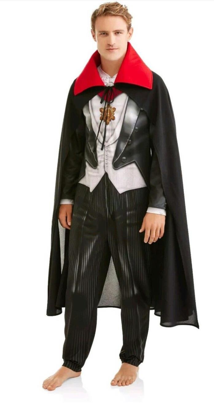 New BRIEFLY STATEDVampire Dracula Pajamas Union Suit Mens 1D Piece Cape Costume