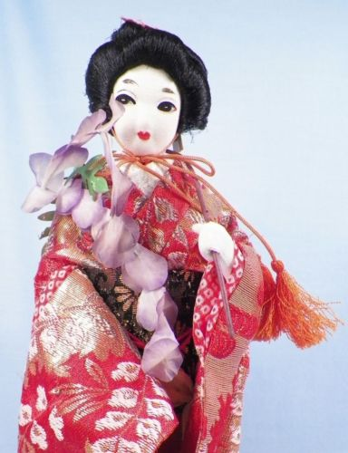 Vintage Japanese Geisha Doll Stockinette Face Silk Flowers Cloth & Wire BEAUTY