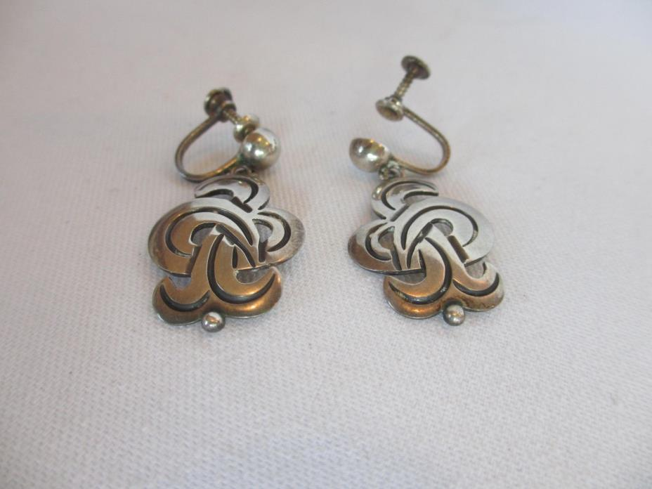 Vintage MODERNIST MID CENTURY TAXCO MEXICO EMMA STERLING SILVER EARRINGS