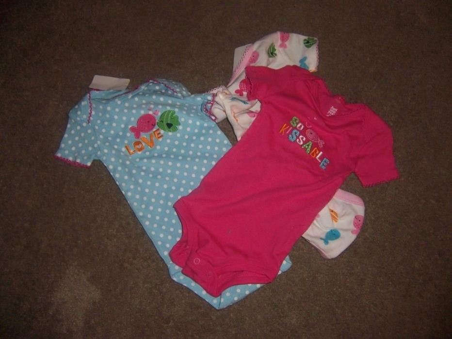 size large just one year carters bodysuits lot new pink  blue