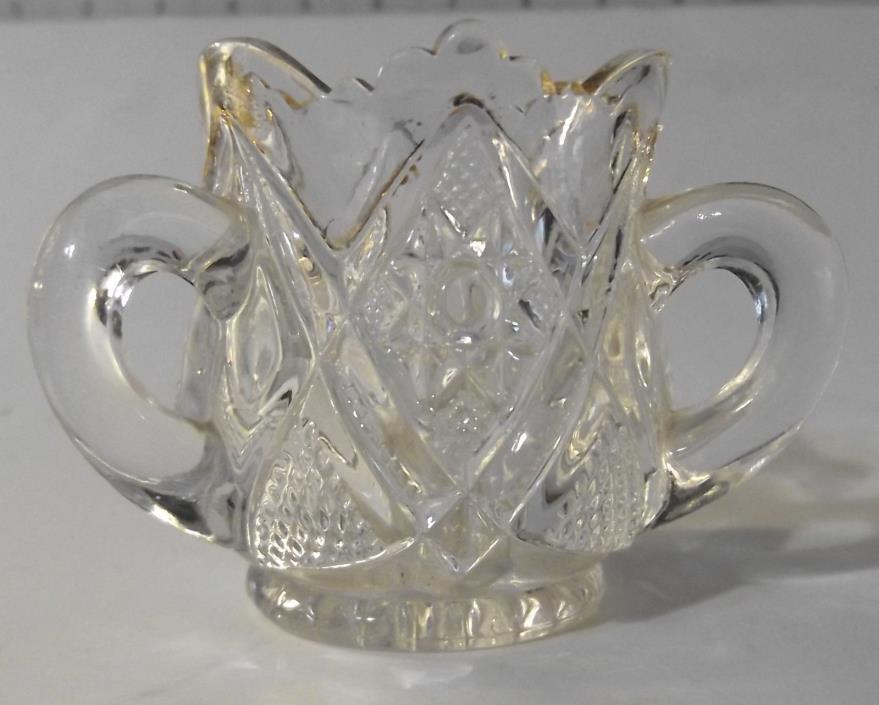 Clear Glass Toothpick Holder Trinket Bowl Cut Pressed Sandwich Glass 3 Handles