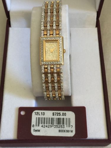 Womens Wittnauer Wristwatch Gold Toned With Crystals