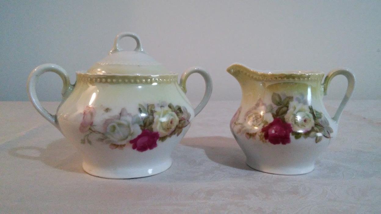 Vintage Germany Porcelain Sugar Bowl & Creamer Set with Floral Scene Mint