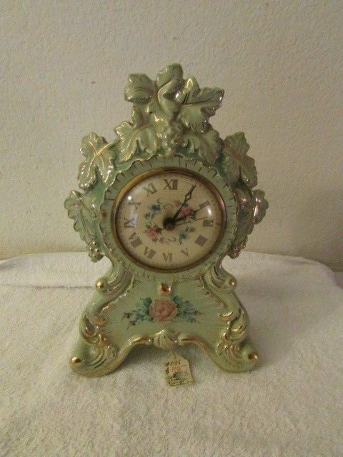 Vintage Green Porcelain Gold Accent Mantel Clock Working Sessions