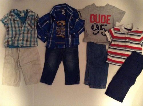 Baby boy clothes lot, 12 months Carters, Eddie Bauer, shirts pants 10 pc.