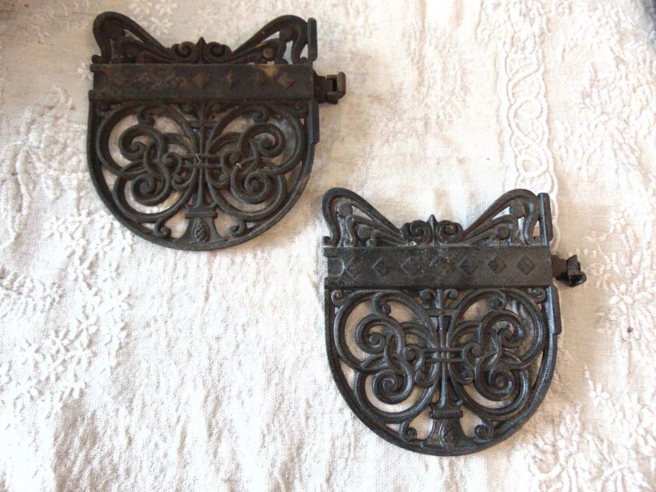 PAIR CAST IRON vtg Antique Warming Shelves WOOD STOVE POT RACK STEAM PUNK