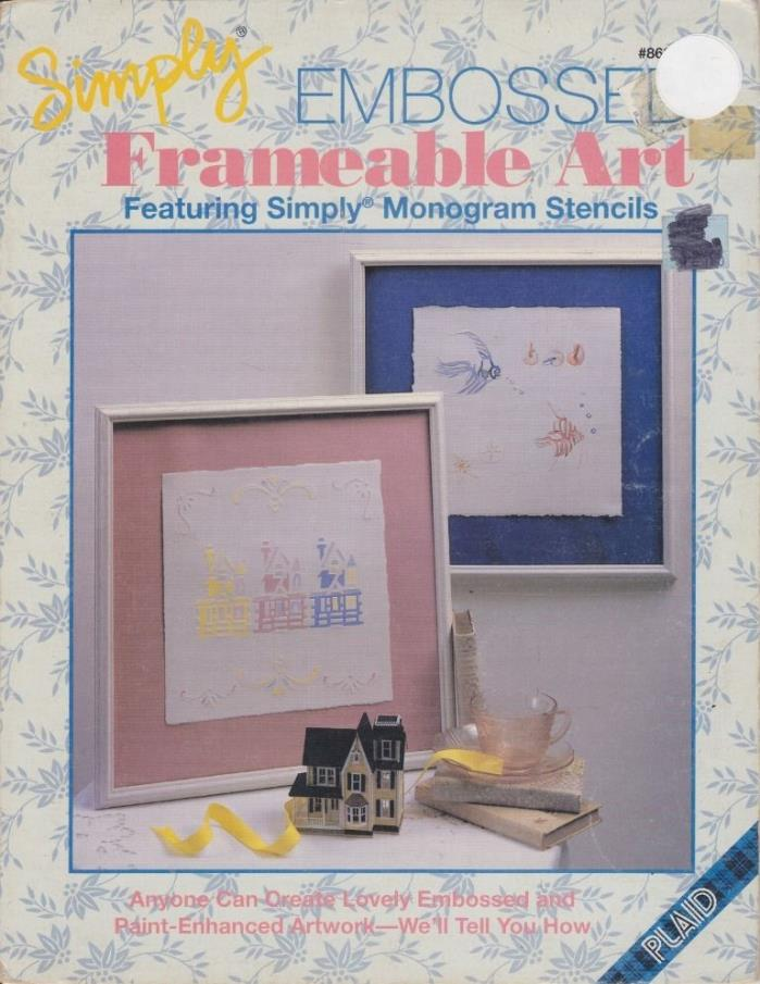 Plaid Simply EMBOSSED Frameable Art Featuring Monogram Stencils Paint 1991