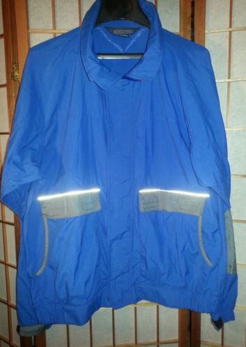 Land's End Nylon Windbreaker Jacket True Blue With Reflectives For Nite Unisex-L