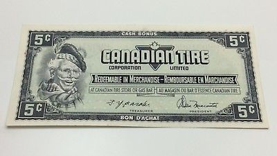 1974 Canadian Tire 5 Five Cents CTC-S4-B-HN Circulated Money Banknote D195