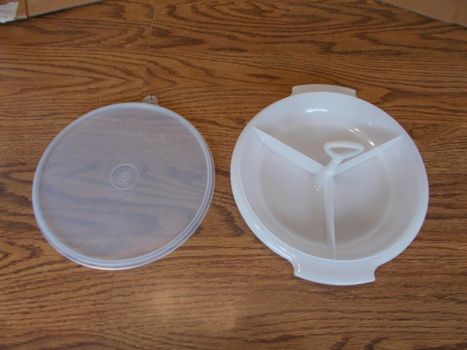 Vintage Tupperware Divided Relish Serving Tray, Nut Candy Dish with handle & Lid