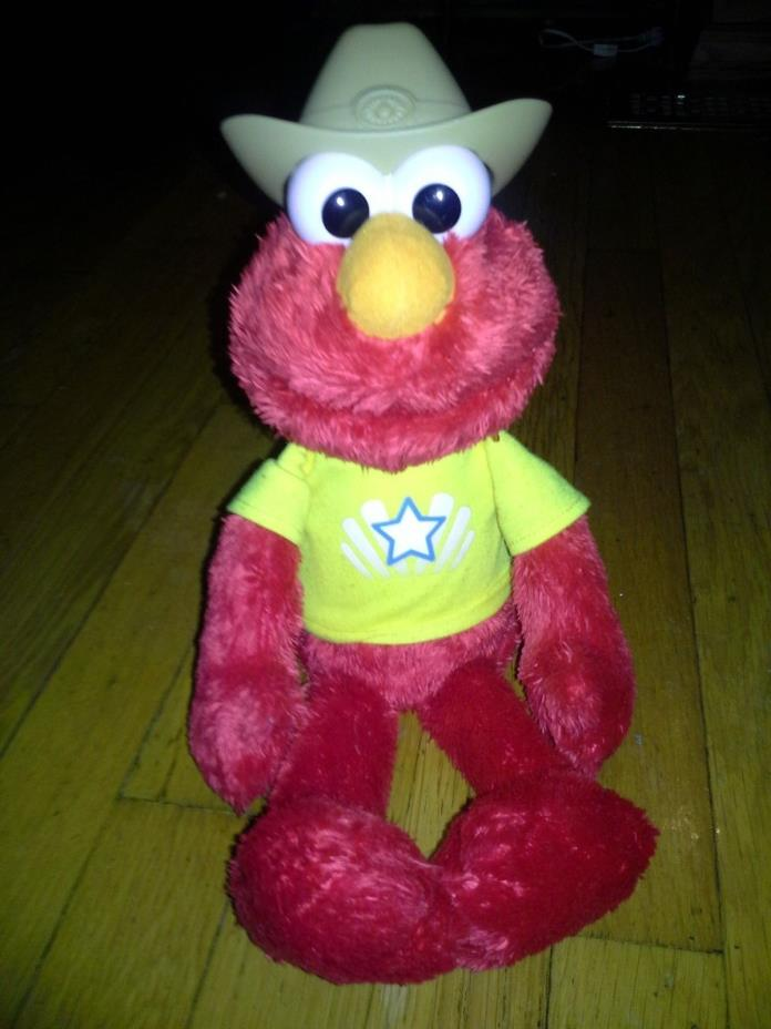 Hasbro Lets Imagine Talking plush Elmo with just cowboy hat  17 inches
