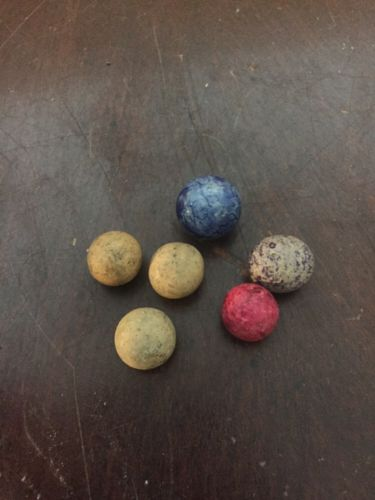 Vintage Lot Of 6 Clay Marbles
