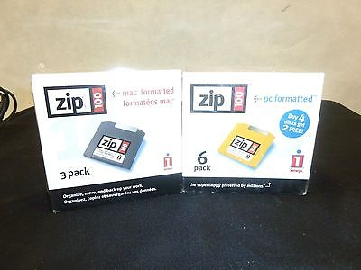 Iomega Zip 100MB Disk 3 pk for MAC/6pk for PC's Disks New Sealed