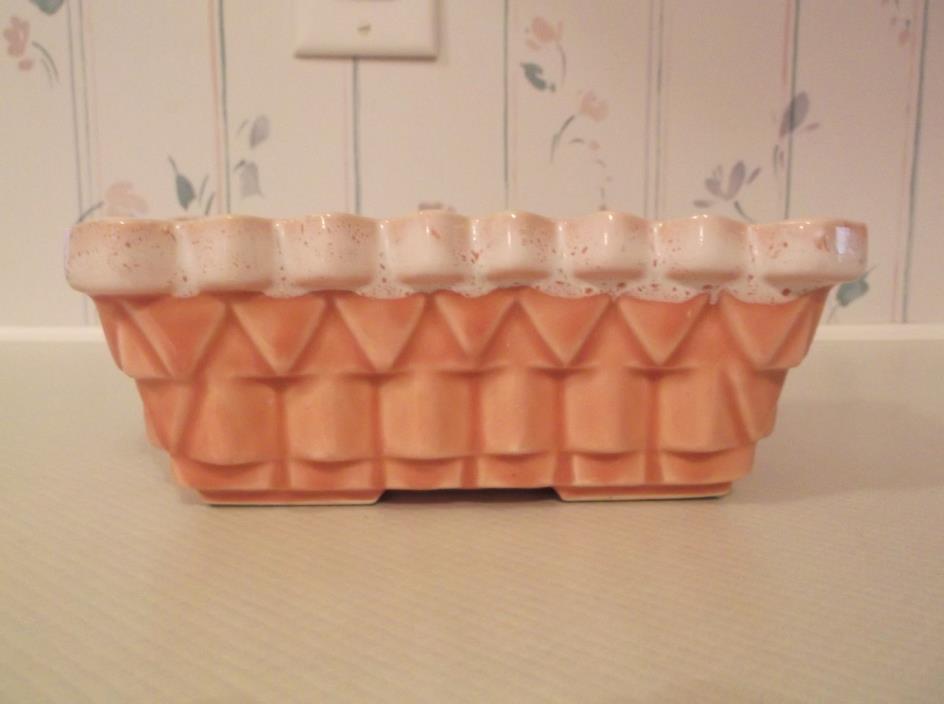 VINTAGE UPCO USA Pink rectangle pottery planter, 7 1/4