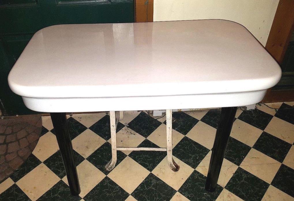 Antique Vintage CRANE  Porcelain Kitchen Bathroom Sink Table Shelf Glass Legs