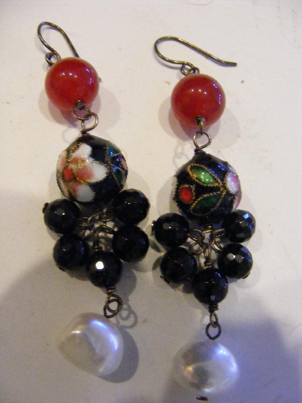 Asian Sterling Silver Dangle EARRINGS Carnelian Enamel Cloisonne Beads Pearls