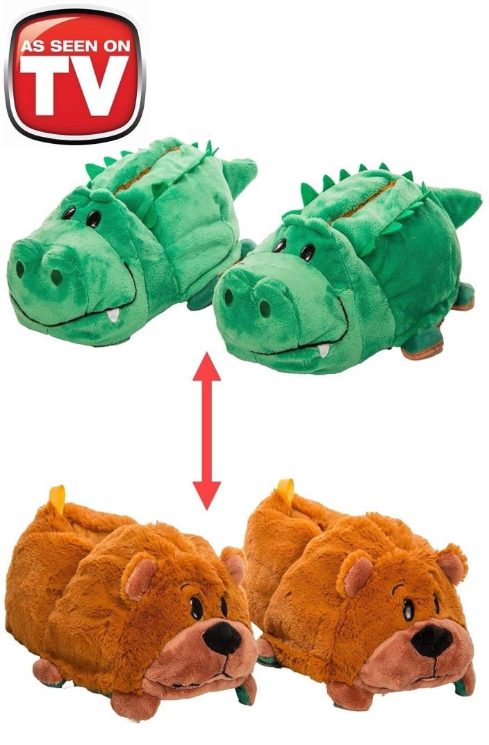 FlipaZoo Slippers Alligator Transforming to Grizzly Bear M 12/13 AS SEEN ON TV