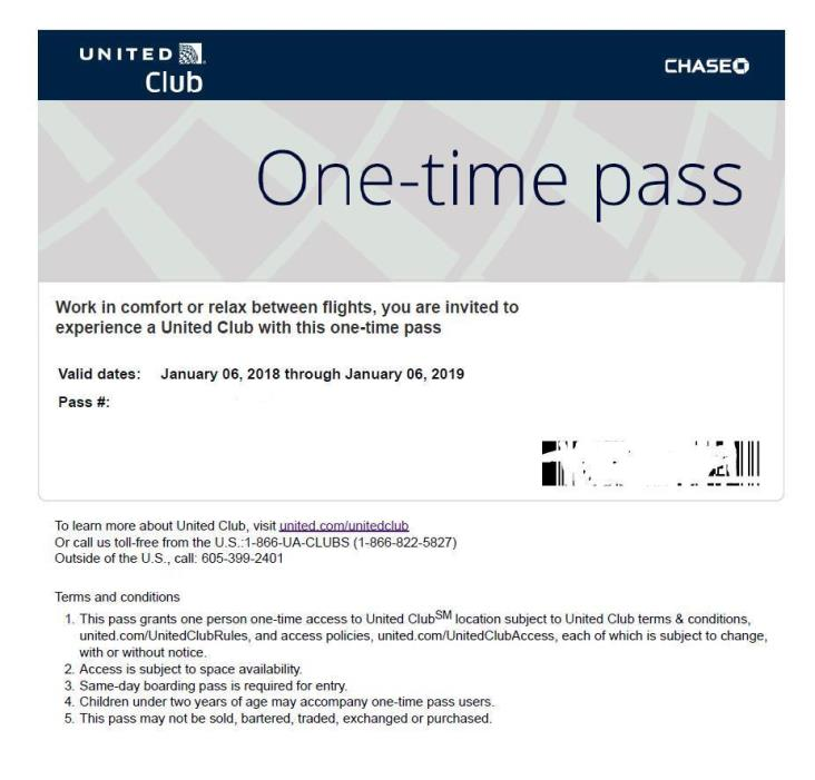 2 (two) One-Time Passes for UNITED CLUB - EXP 01/06/2019  e-delivery