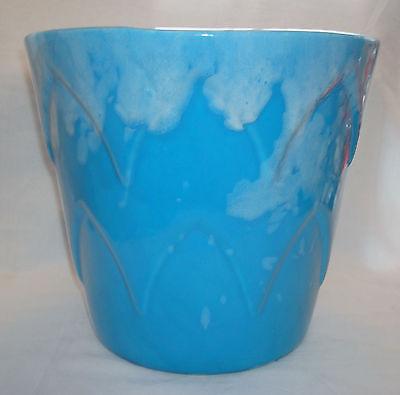 """Vintage FM USA 700M Turquoise Blue Drip Glaze Art Pottery 10"""" Jardinière Planter"""