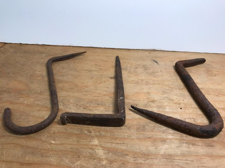 Lot 3 Large Early Primitive 18th C Hand Forged Wrought Iron Beam Hearth Hooks