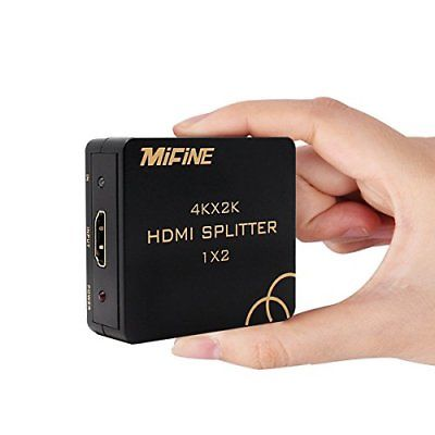 HDMI Splitter,Mifine 1X2 HDMI Splitter 1 In 2 Out Support 4K 1080P 3D Incl..