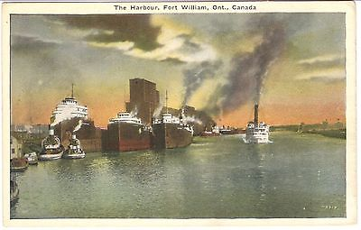 DRAMATIC Post Card: 1920s, SUNSET ON HARBOUR AT FORT WILLIAM, ONTARIO  L67