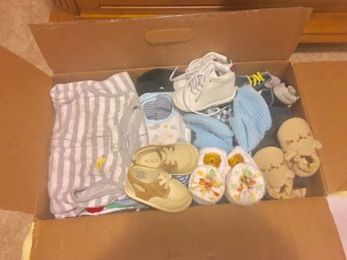 Box Of Baby Boy Clothes Bibs Shoes Socks Sizes Newborn To 9 Months