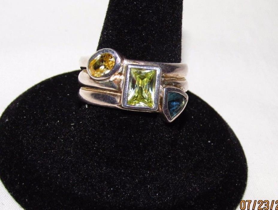 SALE! Designer >1 TCW  Citrine Peridot Topaz Triple Band 925 Sterling Ring 8