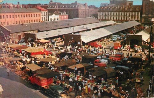 Hamilton Ontario~Large Crowd~Outdoor Farmer's Market~1940-50s Cars Trucks~1959