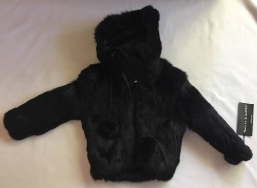 Knoles & Carter Genuine Black Fur Hooded Coat Zip Kids Medium M 2-3
