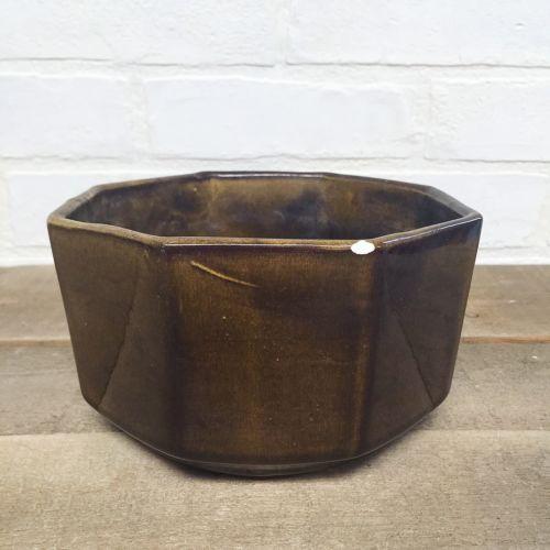 Vintage POTTERY PLANTER Ceramic DARK GREEN OLIVE BROWN OCTAGON Midcentury Modern