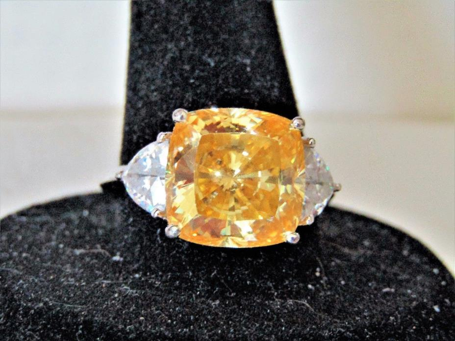 ~ 8 TCW  925 Sterling Silver Yellow Square-Cut & Clear Trillion-Cut CZ Ring 8.5