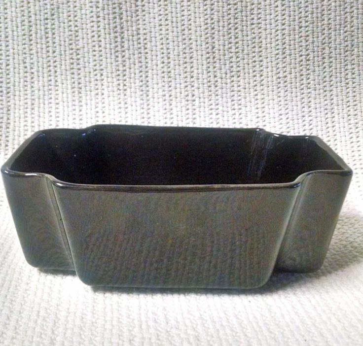 496 Vintage black ceramic planter / dish, rectangle shaped with corners notched