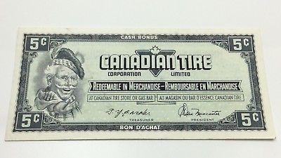 1974 Canadian Tire 5 Five Cents CTC-S4-B-HN Circulated Money Banknote D194