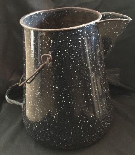 Huge Black Speckled Ceramic Kettle Vintage Rare Piece, Former Military Used